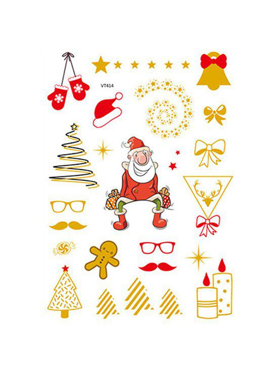 Christmas Santa Foil Print Waterproof Tattoo Stickers - GOLDEN