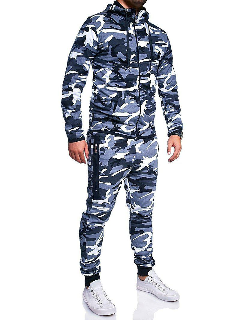 Camouflage Print Jacket And Pants Set - BLUE GRAY M