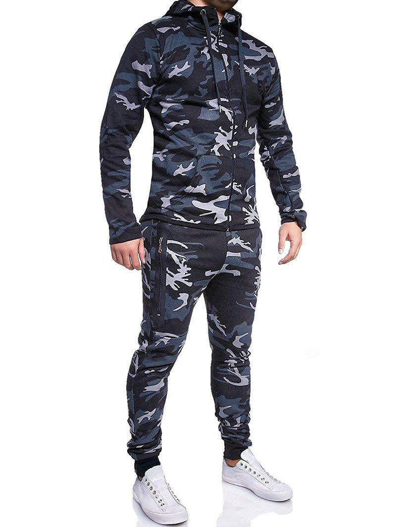 Camouflage Print Jacket And Pants Set - DARK GRAY XL