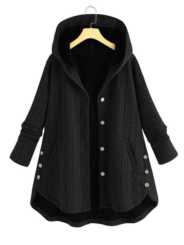 Plus Size Hooded High Low Coat - BLACK 2XL