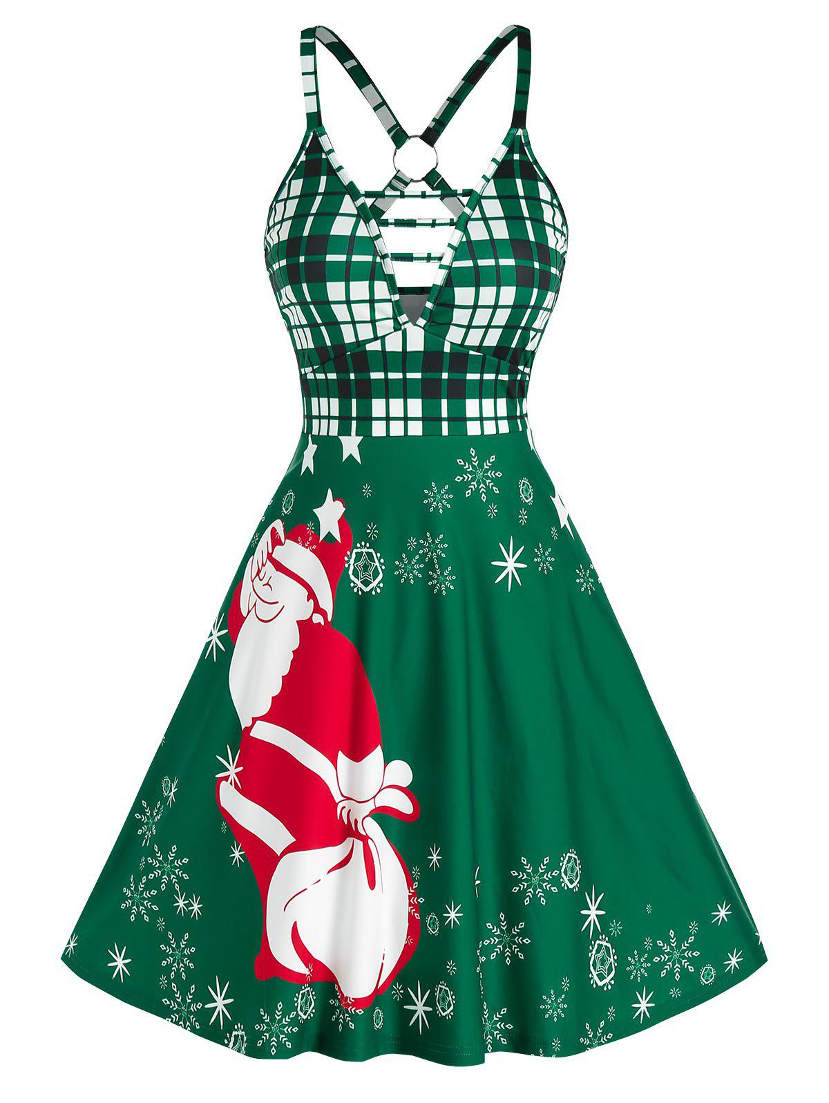 Christmas O Ring Santa Claus Print Plunge Dress - PINE GREEN 3XL