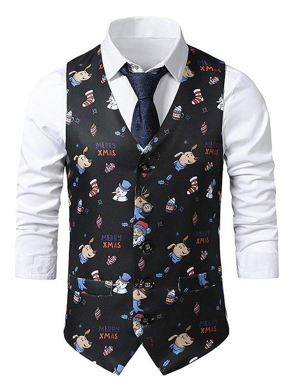 Christmas Santa Claus Snowman Animal Print Single Breasted Waistcoat - multicolor XL