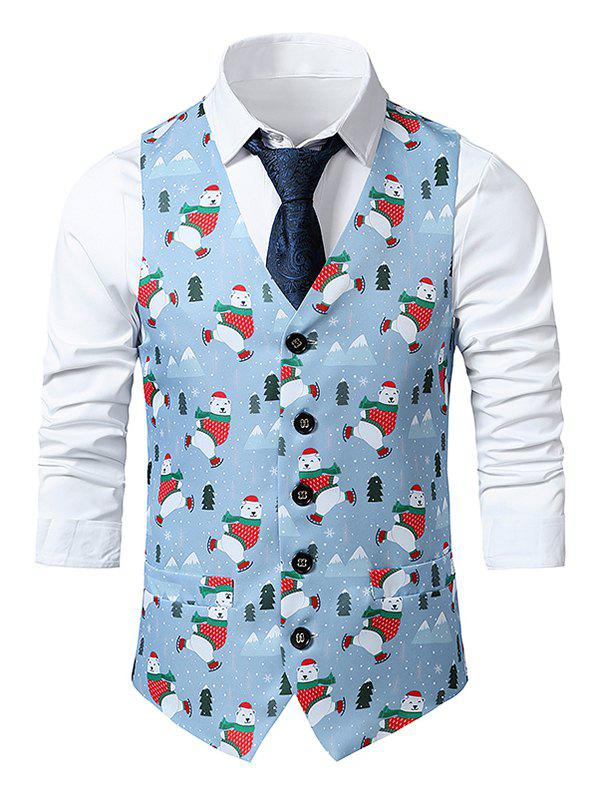 Christmas Bear Trees Print Single Breasted Waistcoat - multicolor L