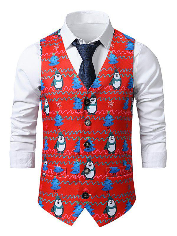Christmas Tree Penguin Print Single Breasted Waistcoat - multicolor M