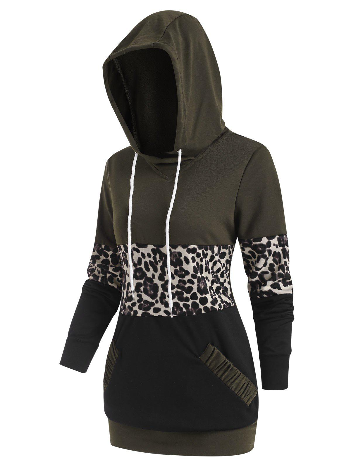Leopard Patchwork Pocket Pullover Hoodie - DEEP GREEN M