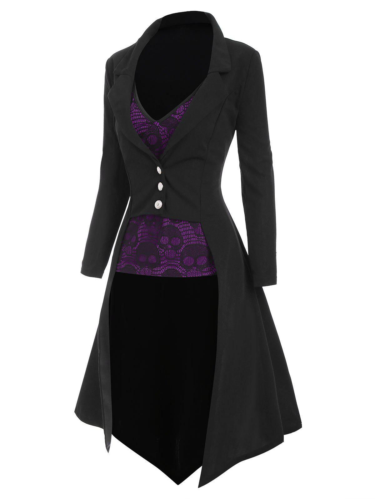 Halloween High Low Lapel Trench Coat with Skull Lace Camisole - PURPLE XL