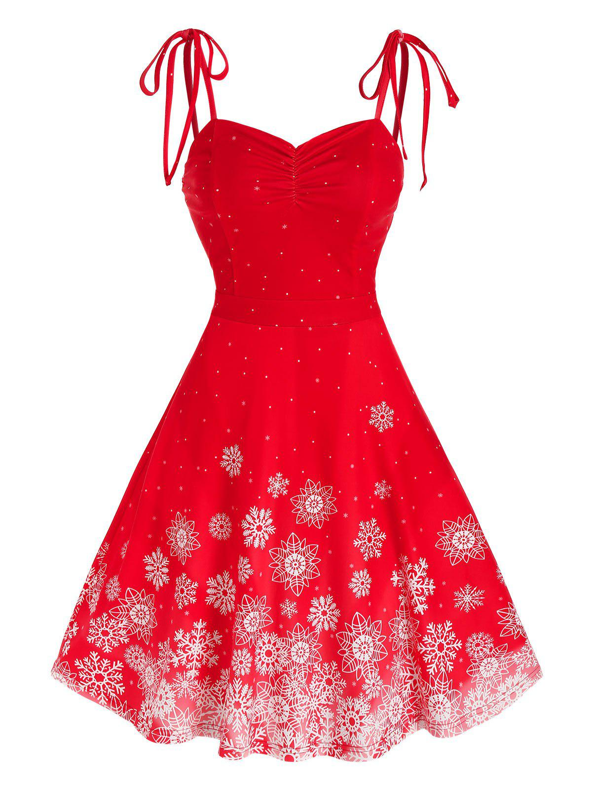 Christmas Tie Shoulder Snowflake Print Dress - RED L