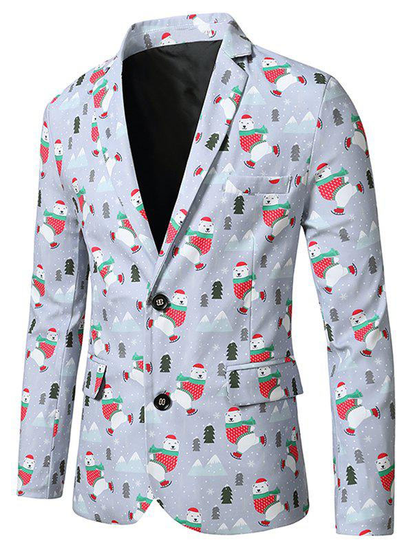 Christmas Bear Trees Print Lapel Side Slit Blazer - multicolor XL
