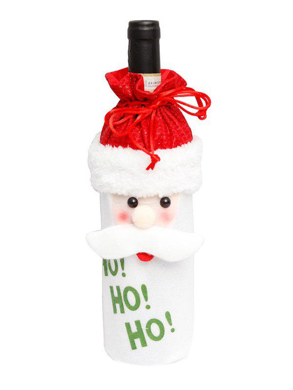 Christmas Cartoon Decorations Fuzzy Wine Bottle Cover - multicolor A