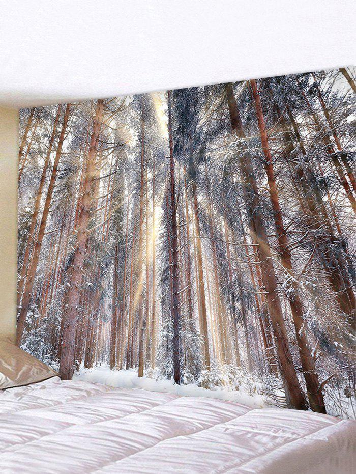 Snowy Forest Printed Waterproof Wall Tapestry - multicolor W91 X L71 INCH