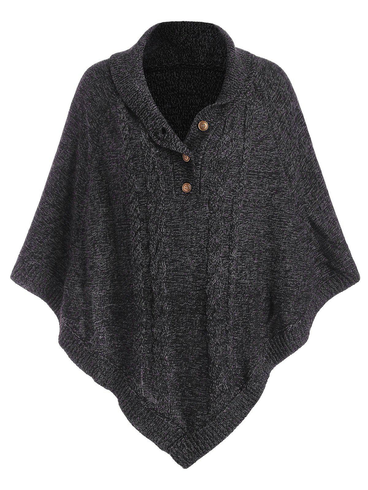 Shawl Collar Cable Knit Heathered Poncho Sweater - BLACK ONE SIZE