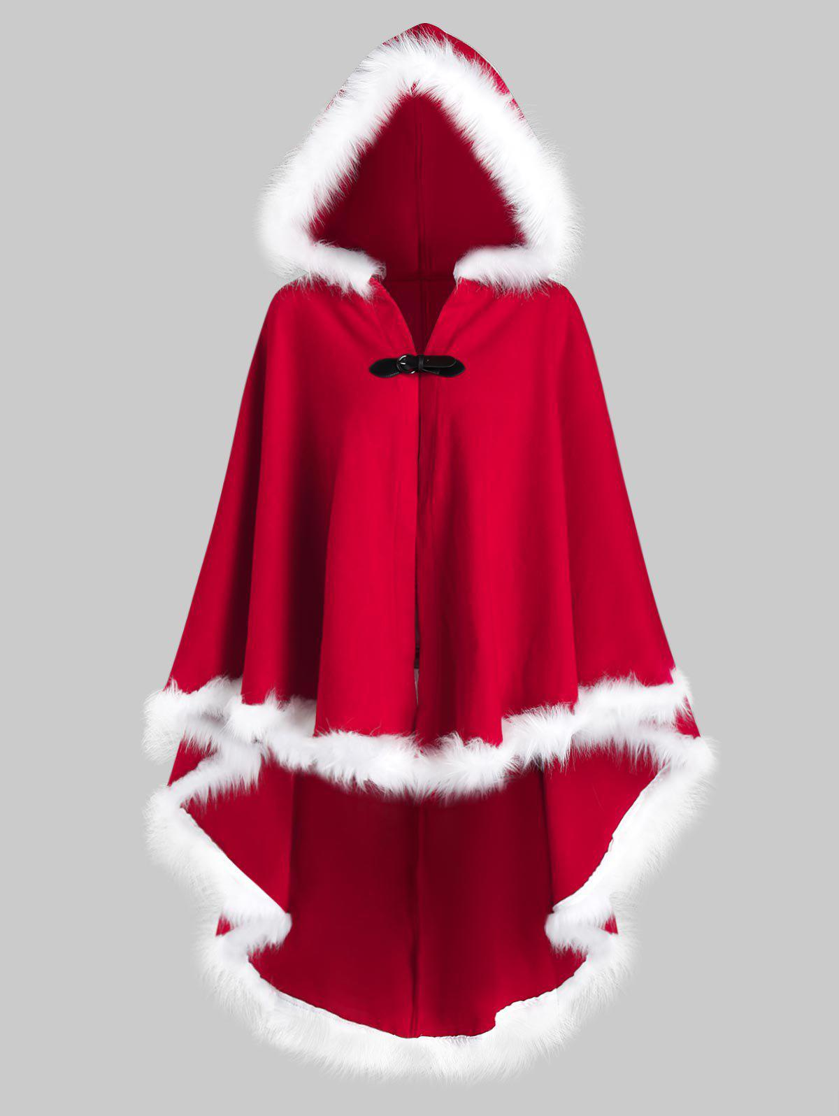 Plus Size Faux Fur Insert High Low Christmas Cloak Coat - RED 5X