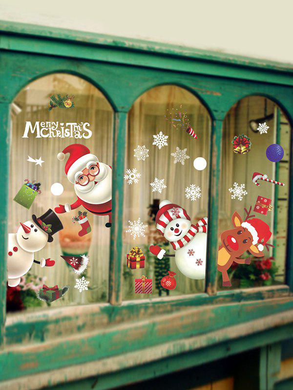 Christmas Snowman Santa Window Glass Static Stickers Set - multicolor A 37*50*2