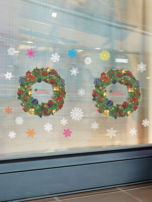 Christmas Garland Window Glass Wall Static Stickers Set - multicolor A 35*50*2