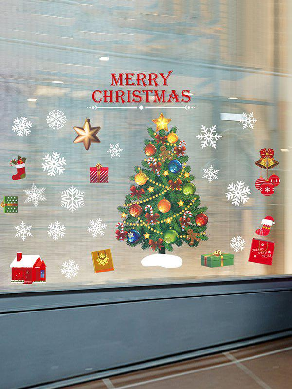 Christmas Tree Print Glass Static Stickers Set - multicolor A 35*50*2