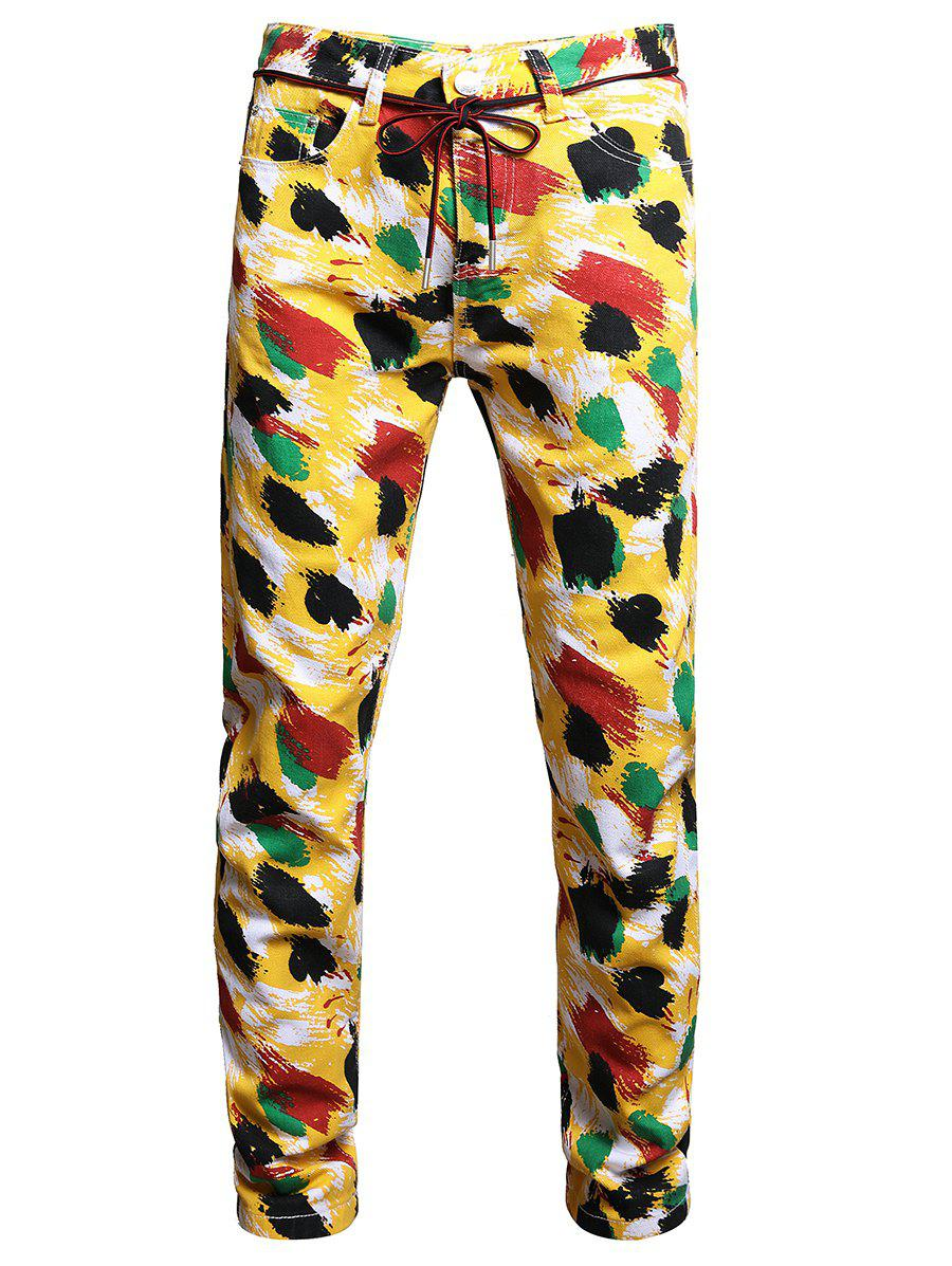 Painting Print Long Jeans - multicolor A 32