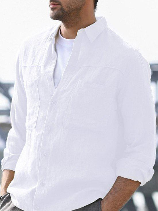 Button Up Double Pockets Shirt - WHITE 3XL