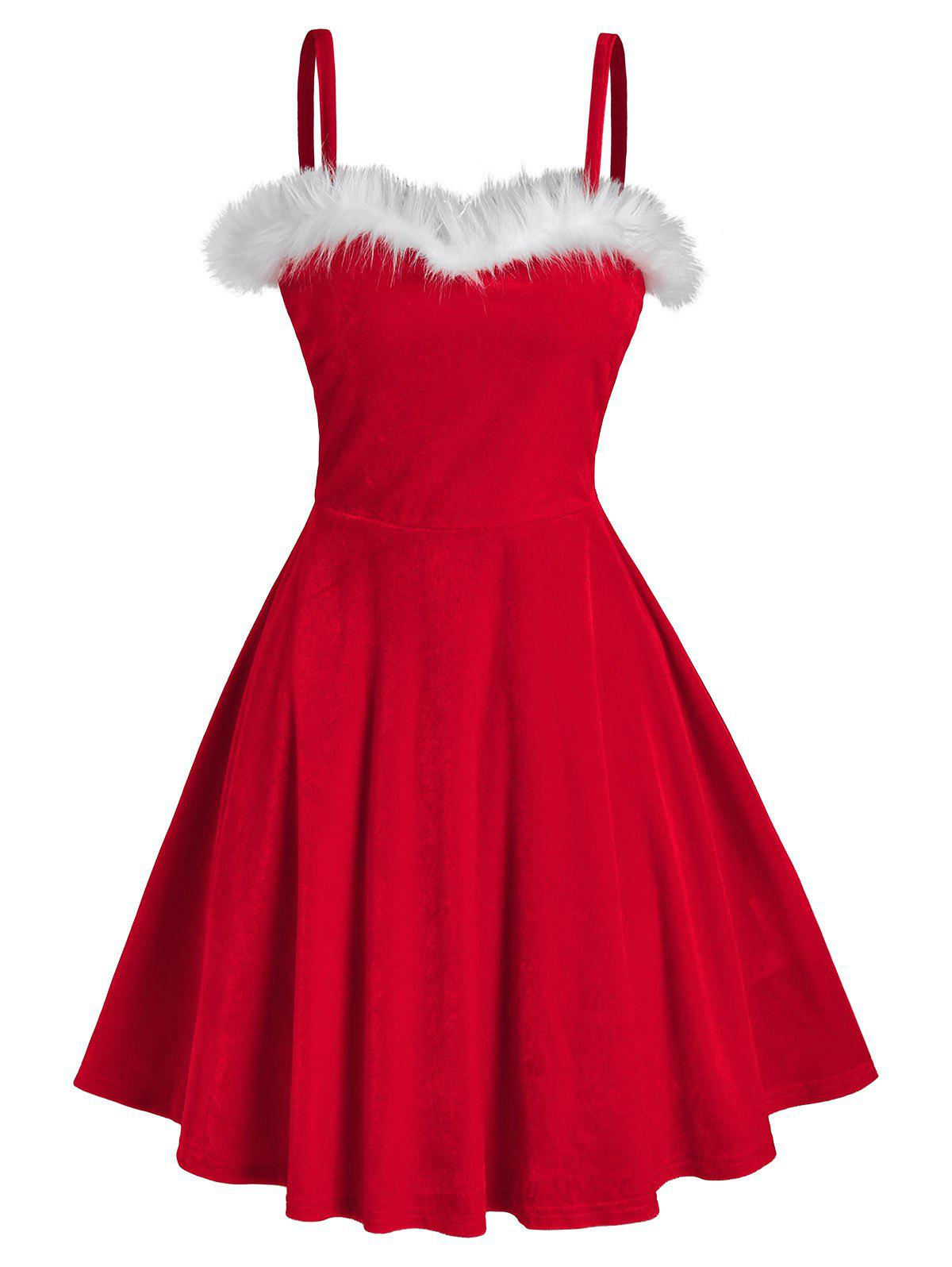 Bicolor Front Fluffy Velour Flare Dress - RED 3XL