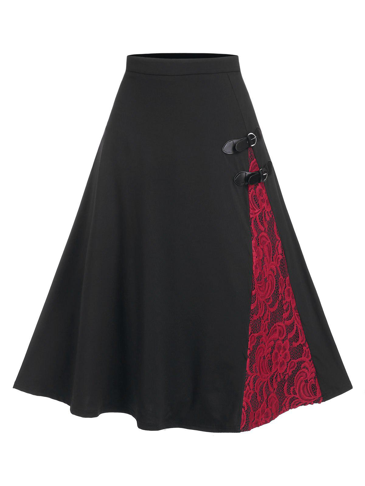 Lace Panel Buckled A Line Skirt - BLACK L
