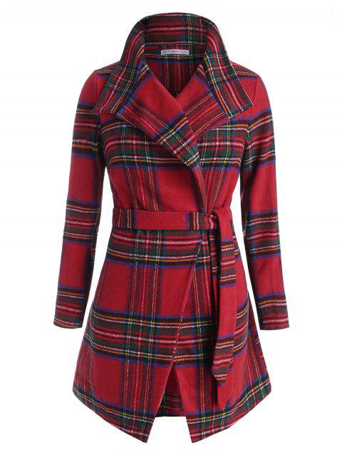 Plus Size Checked Turndown Collar Wrap Belted Coat