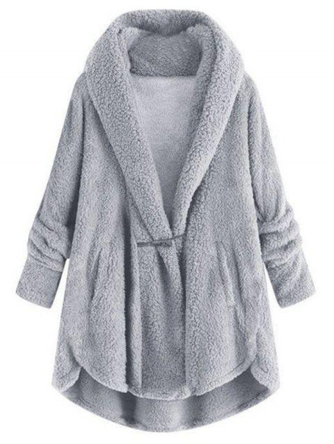 Plus Size Hooded High Low Faux Fur Coat