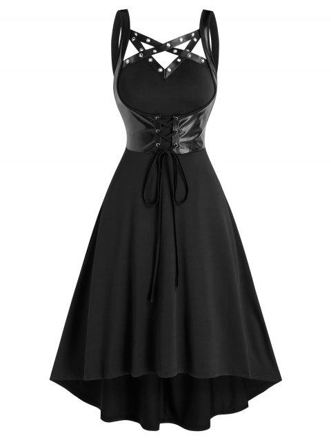 Lace Up Faux Leather Insert High Low Dress