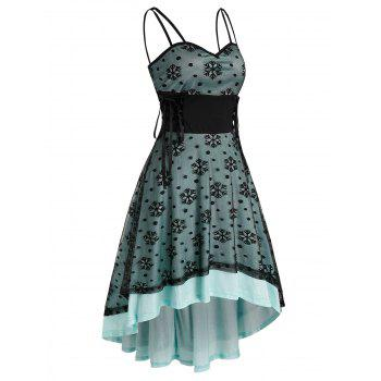 Christmas Snowflake Pattern Lace-up High Low Strappy Lace Dress