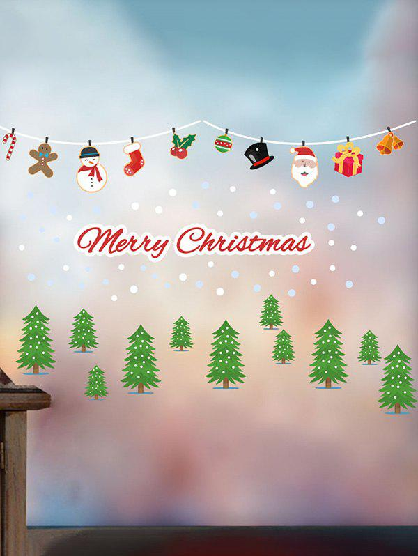 Christmas Tree Santa Claus Snowman Print Removable Wall Stickers - multicolor A 30*90*2