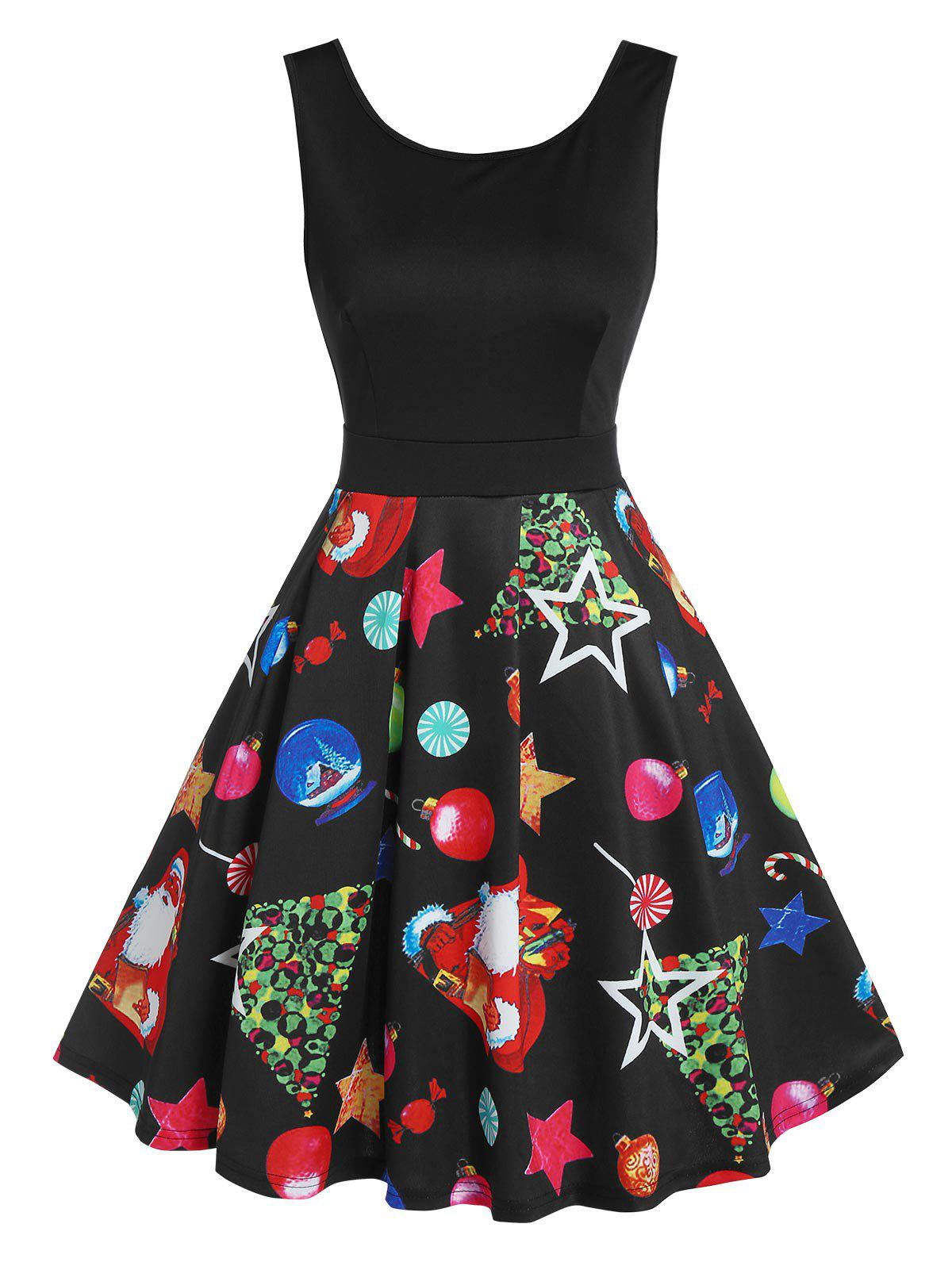 Santa Claus Star Print V Back Flare Dress - BLACK XL