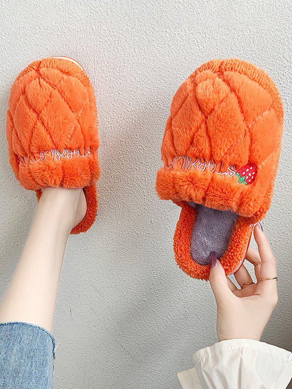Strawberry Pattern Faux Fur Fuzzy Slippers - ORANGE EU 40