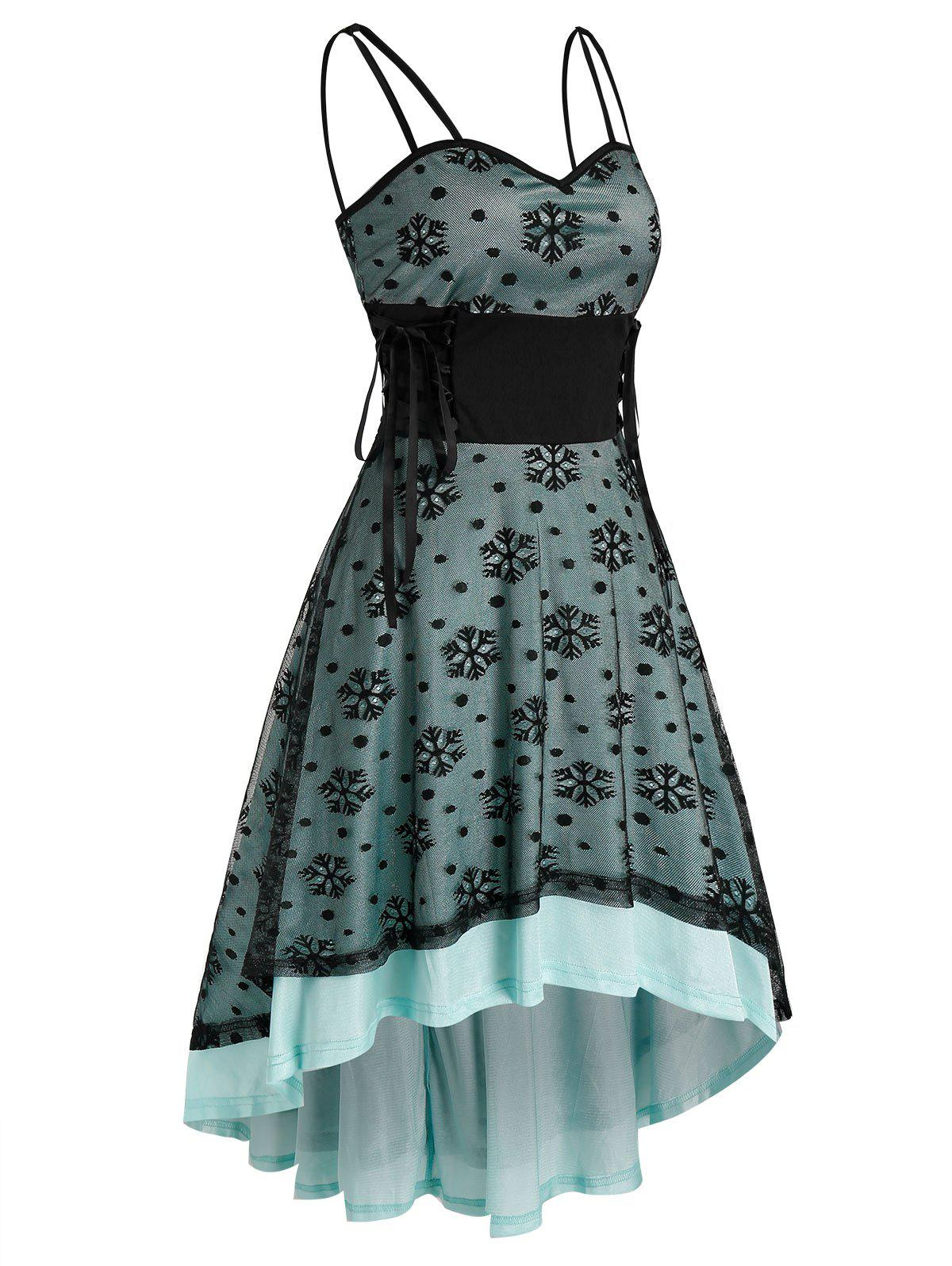 Christmas Snowflake Pattern Lace-up High Low Strappy Lace Dress - TURQUOISE L