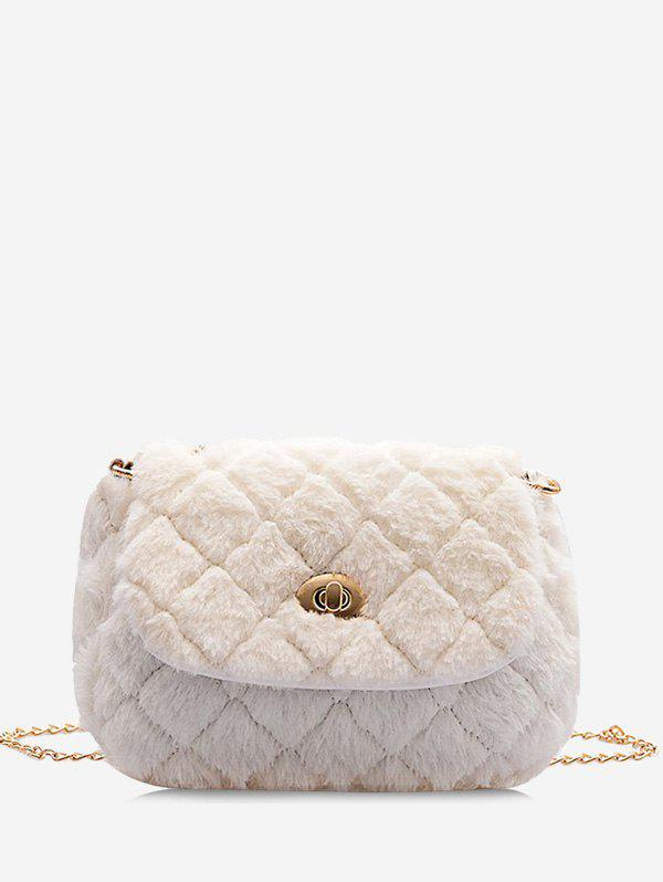 Faux Fur Quilted Fluffy Crossover Bag - MILK WHITE