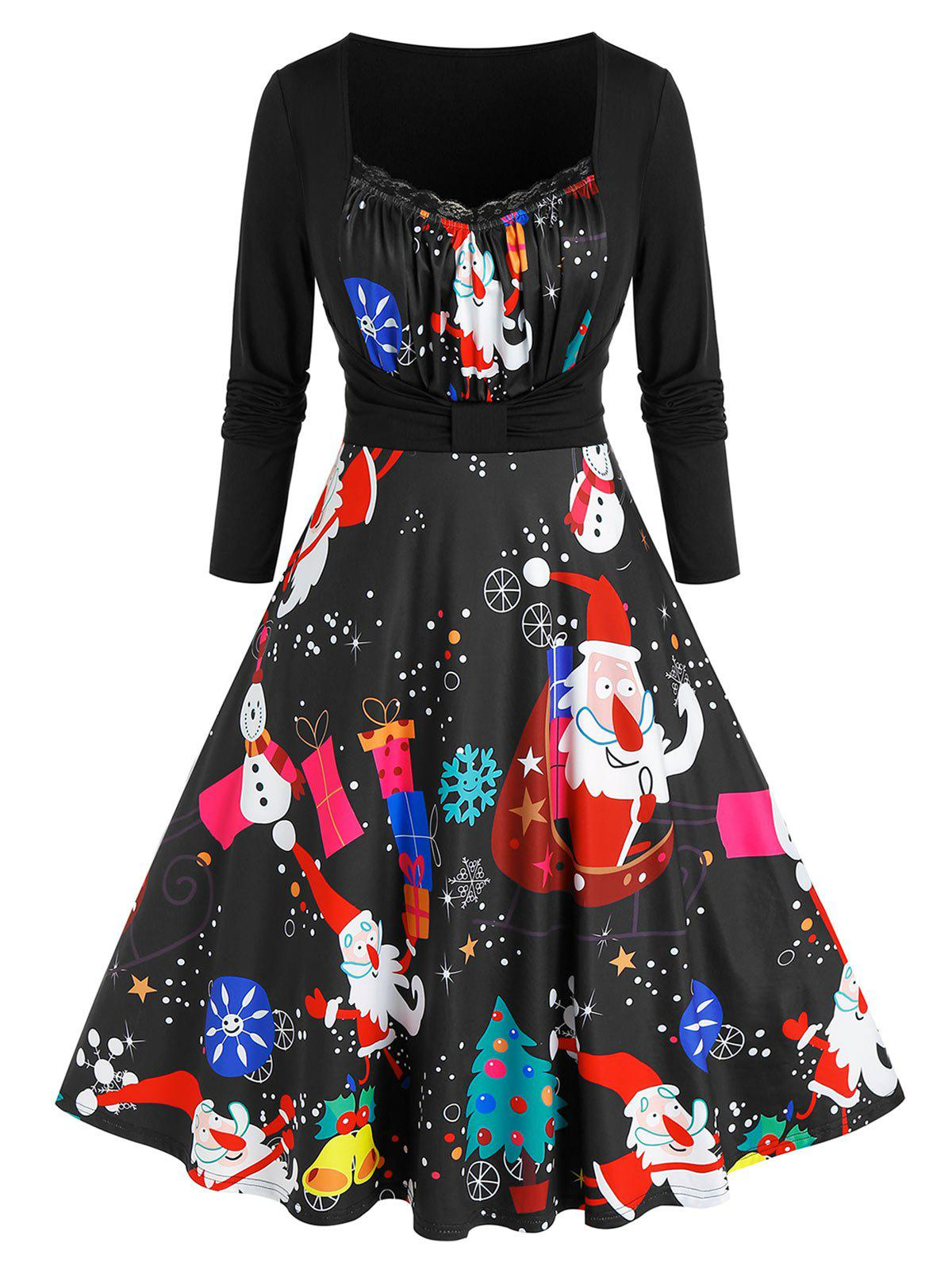 Plus Size Santa Claus Snowman Print Dress - RED WINE 5X