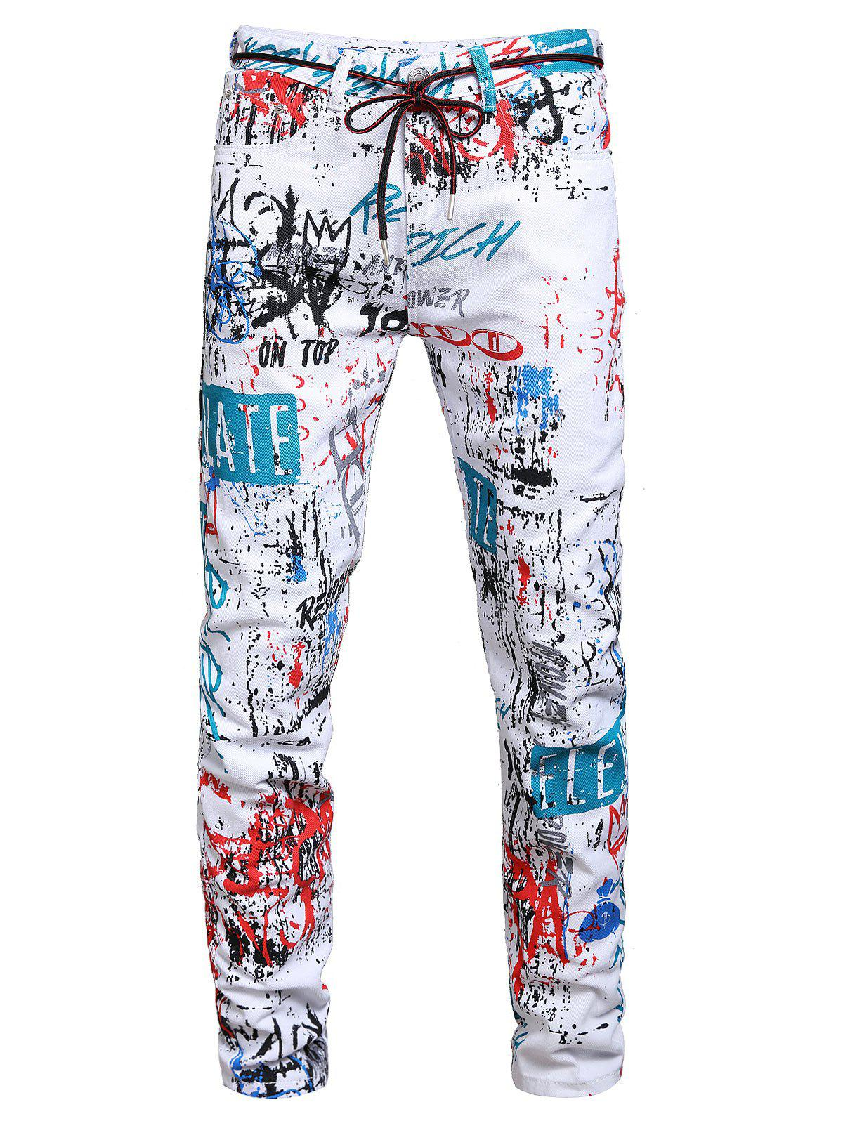 Long Graffiti Painting Allover Print Jeans - multicolor A 36
