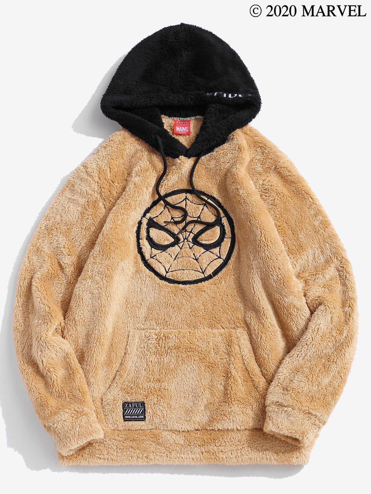 Marvel Spider-Man Embroidered Contrast Fluffy Hoodie - CAMEL BROWN 2XL