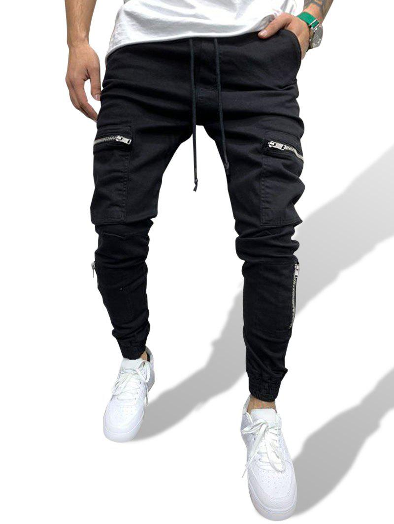 Zipper Detail Multi Pockets Drawstring Casual Pants - BLACK S