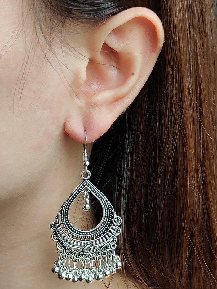 Hollow Out Water Drop Fringed Drop Earrings - SILVER
