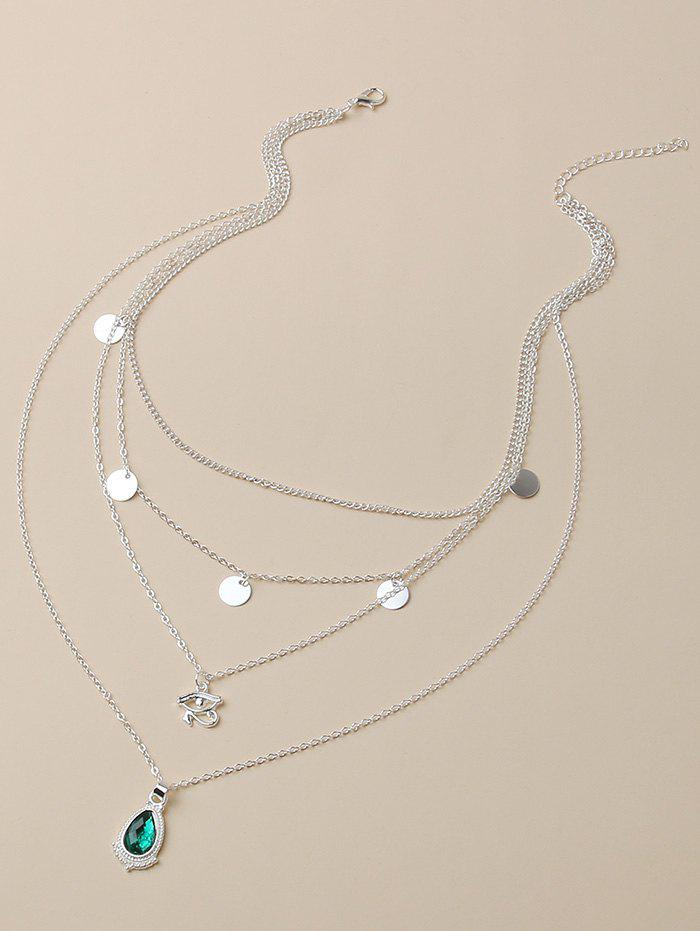 Faux Gem Eye Disc Layered Necklace - SILVER