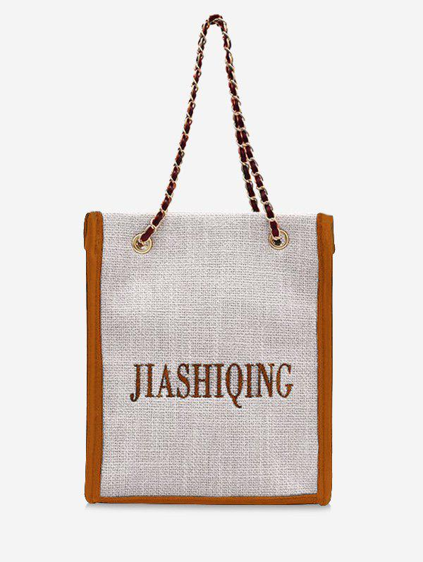 Letter Embroidery Canvas Chain Tote Bag - SANDY BROWN