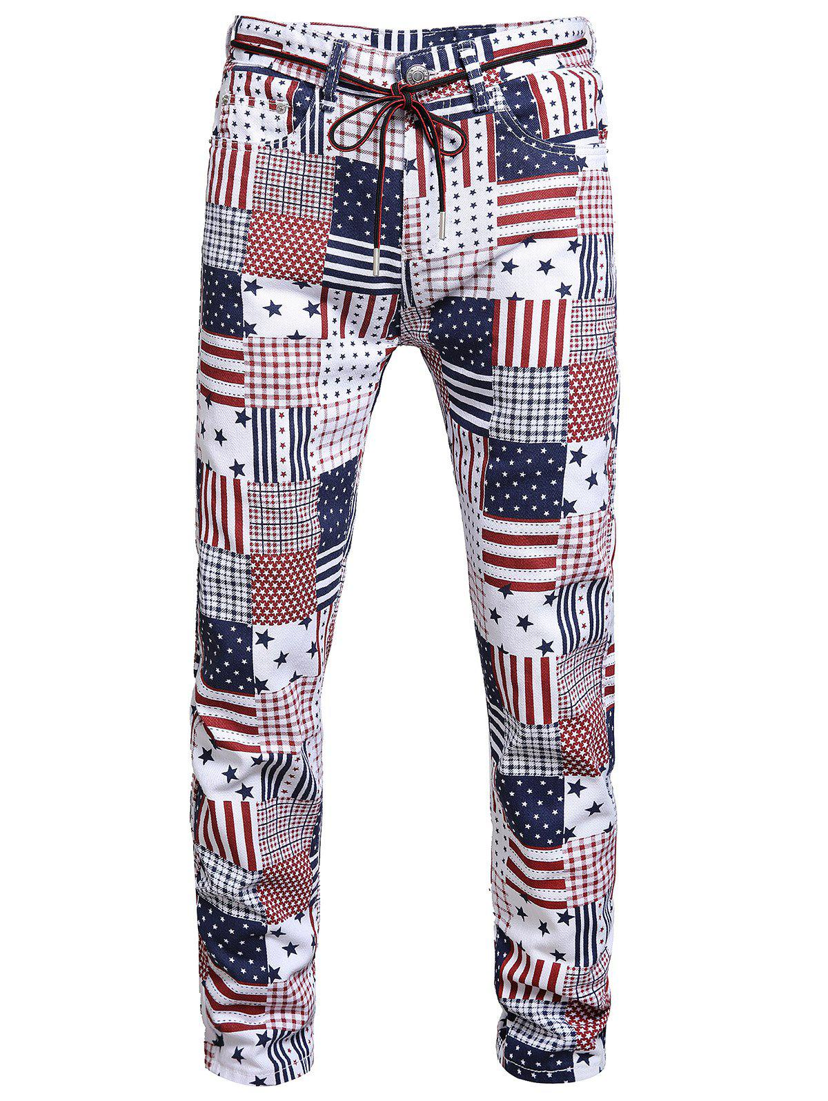 American Flag Pattern Long Jeans - multicolor A 38