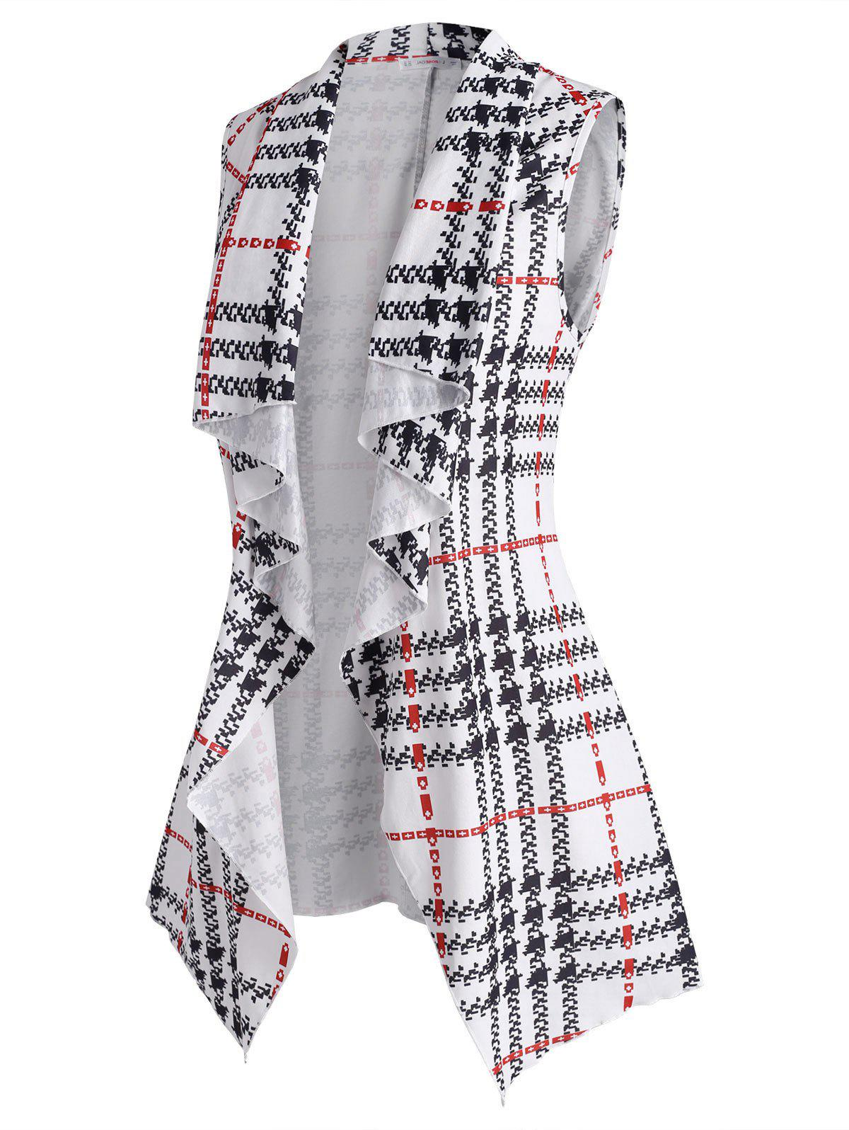 Plus Size Plaid Waterfall Draped Belted Vest - WHITE 2X