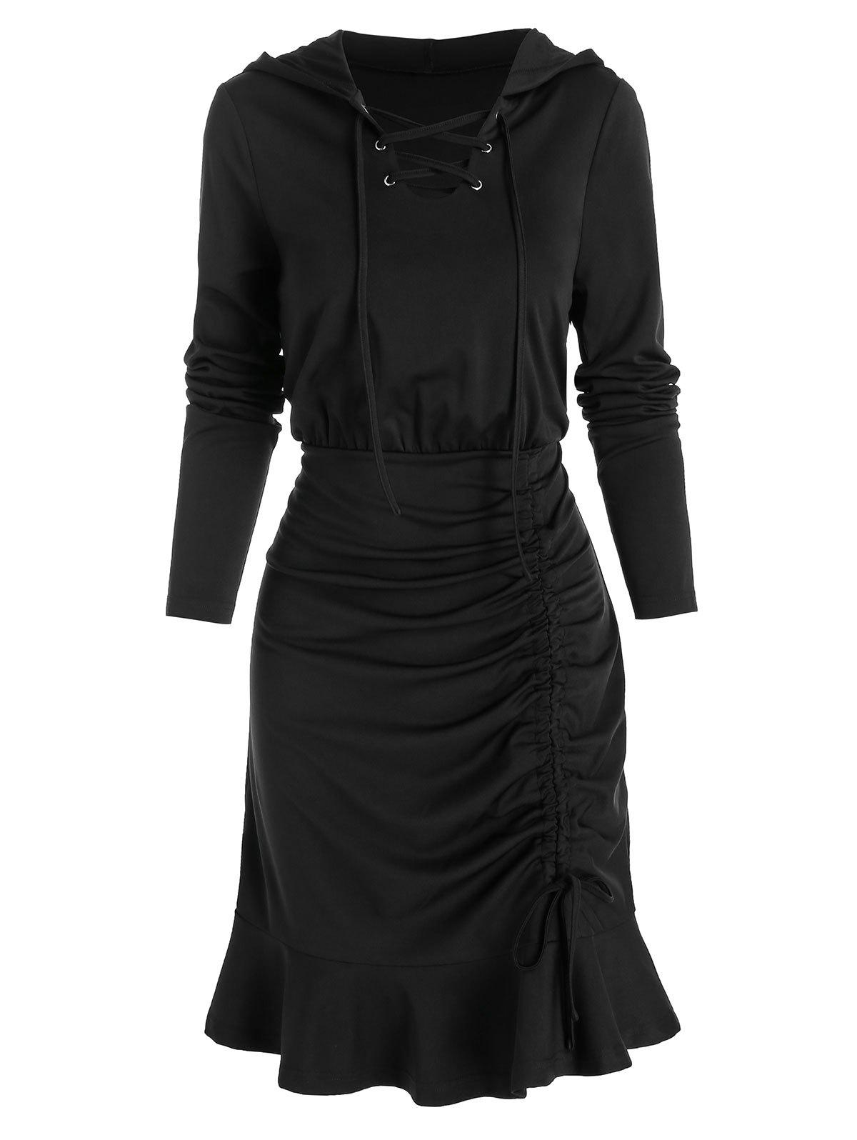 Hooded Cinched Lace-up Sheath Dress - BLACK 2XL
