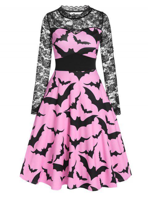 Halloween Bat Print Sheer Lace Panel High Waist Dress