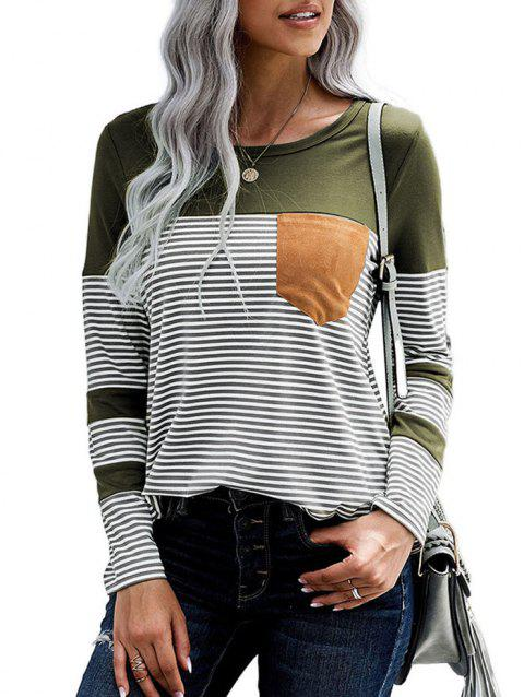Curved Hem Front Pocket Stripes Tee