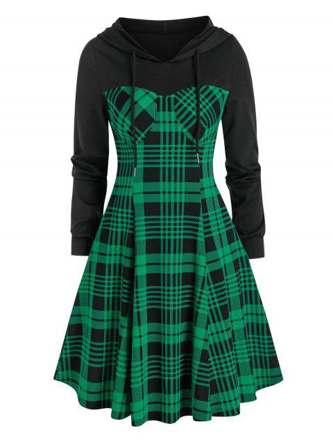 Plaid Print Hooded Flare Dress