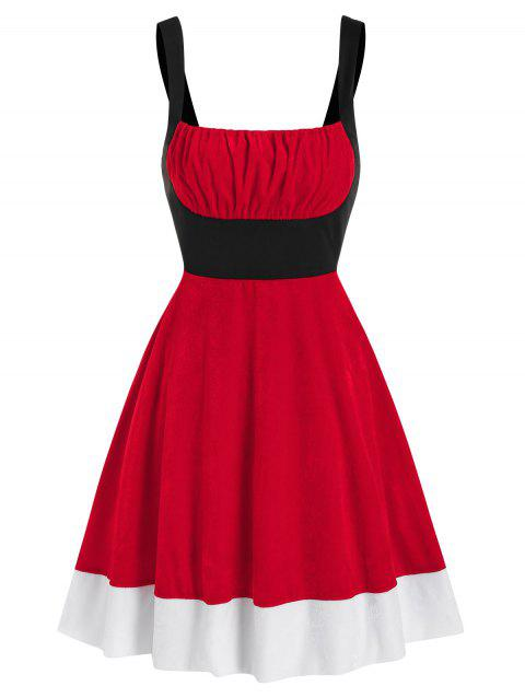 Colorblock Ruched Bust Velvet Christmas Dress