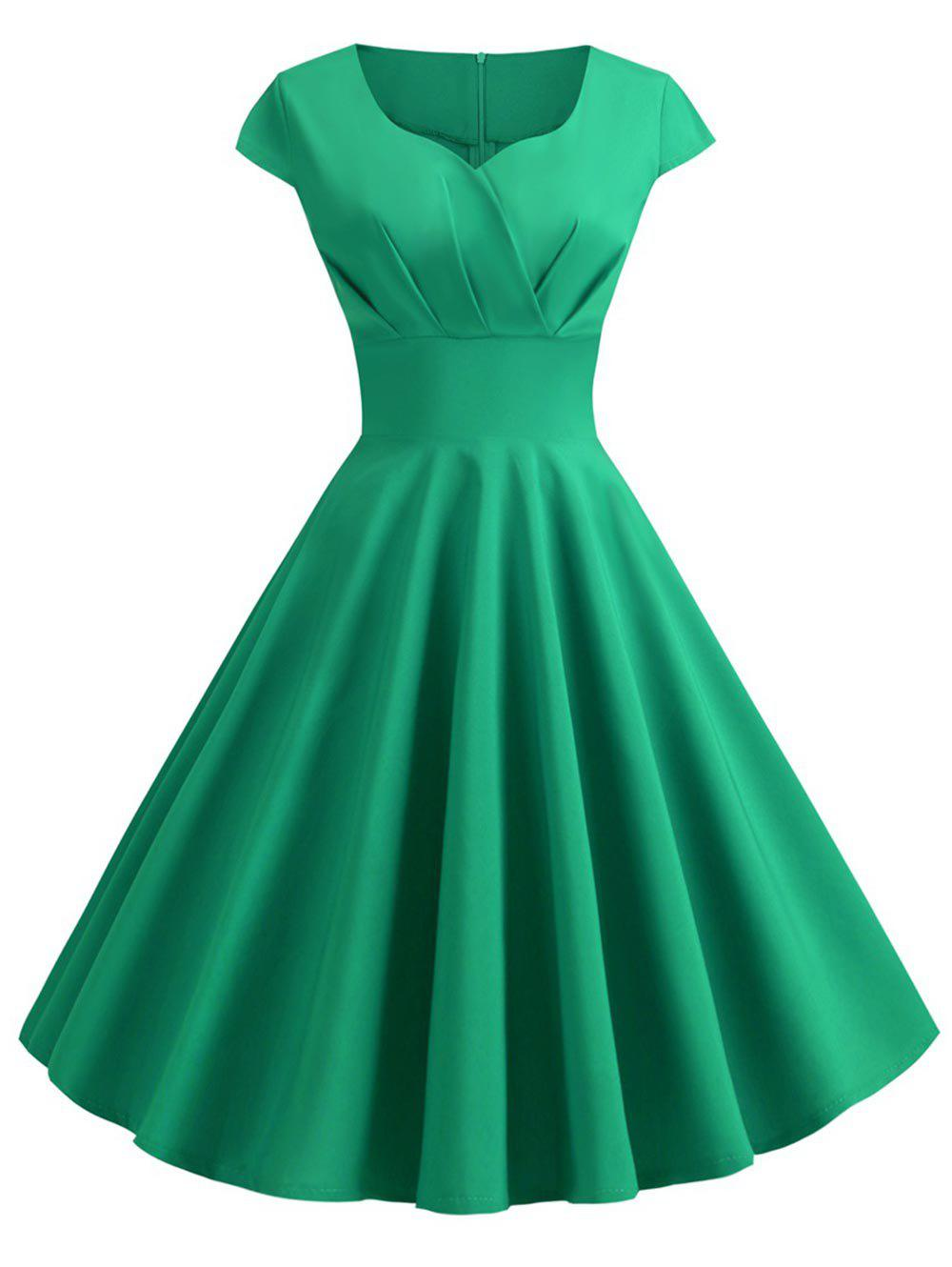 Plus Size Vintage Ruched Pin Up Dress - GREEN L