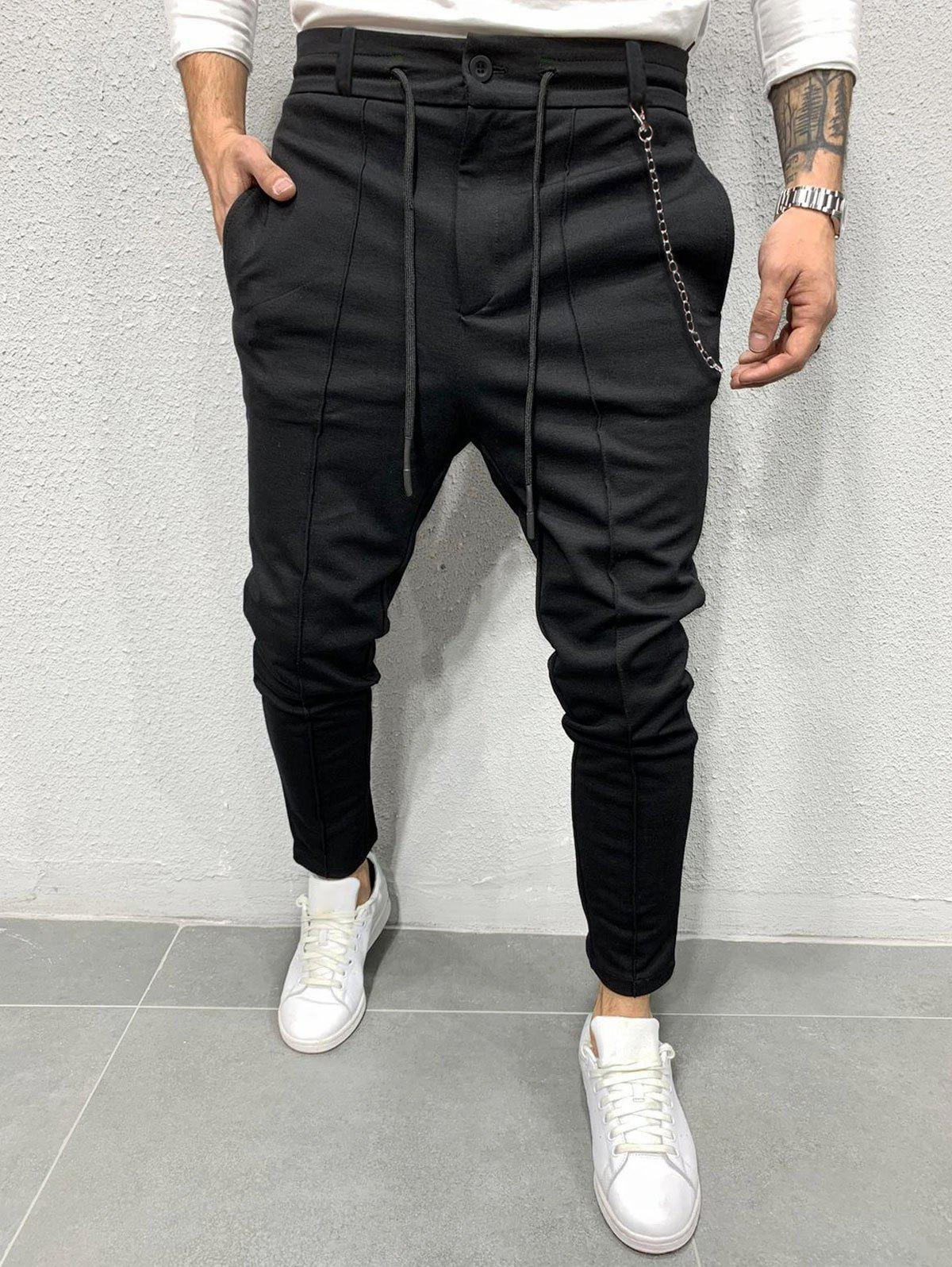 Chain Detail Pintuck Drawstring Casual Pants - BLACK XXL