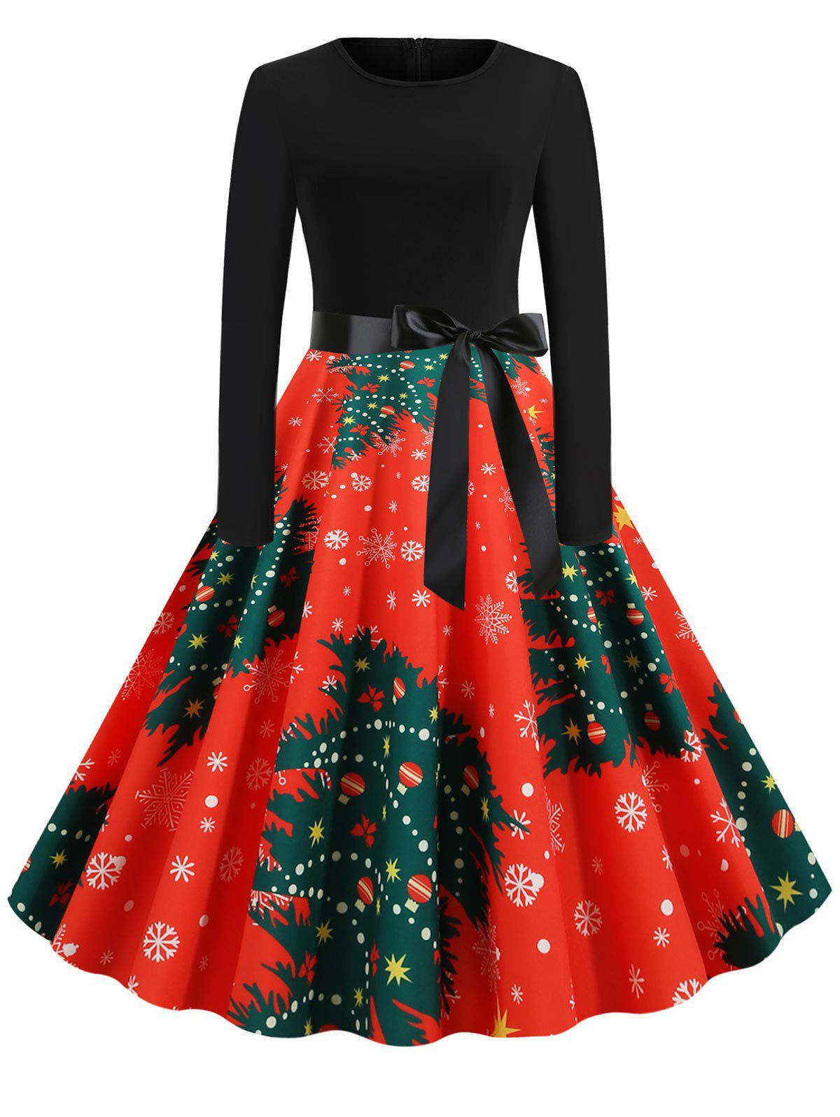Plus Size Christmas Tree Print Fit and Flare Dress - RED 4X