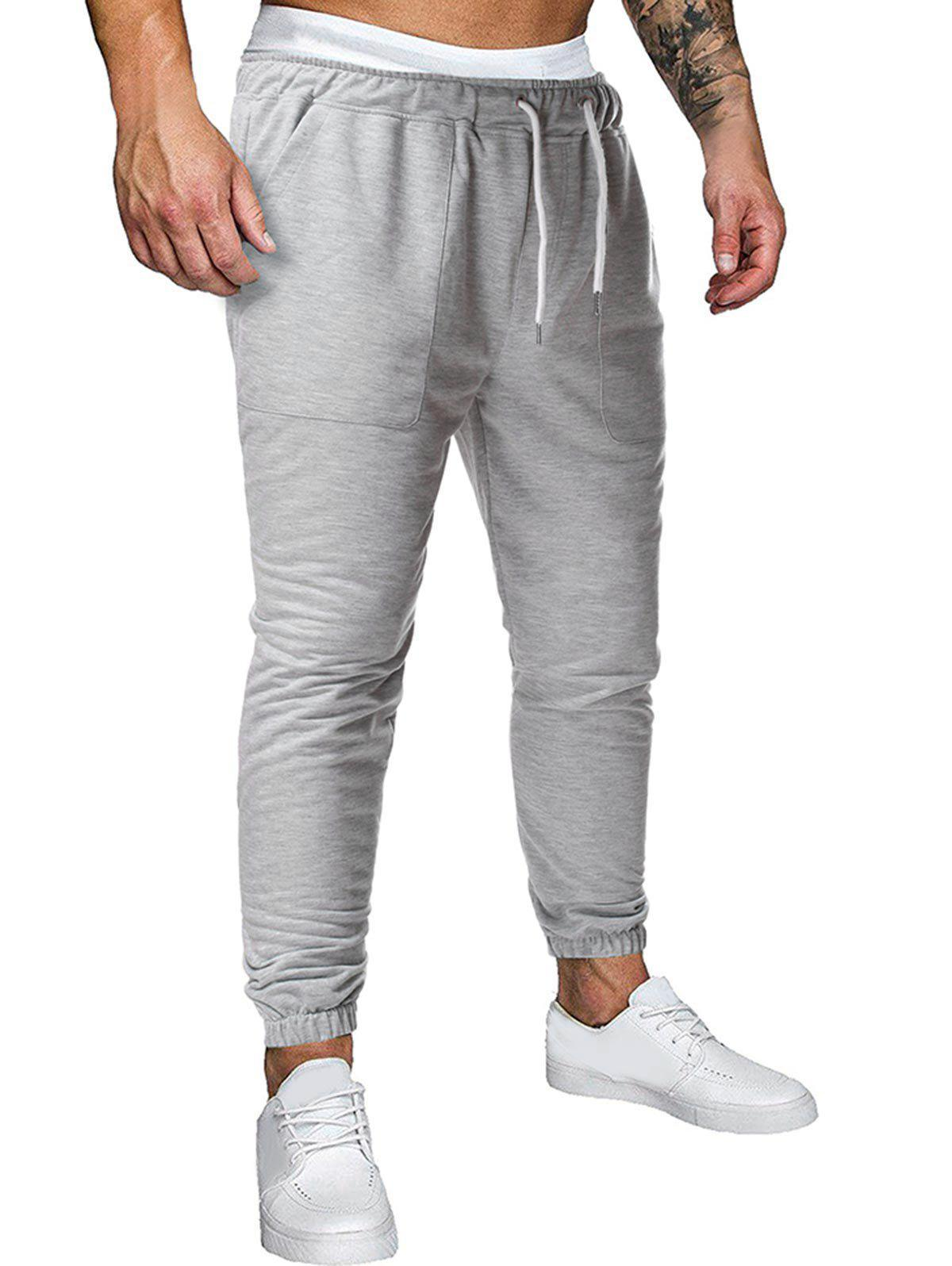 Drawstring Applique Detail Heathered Sports Pants - LIGHT GRAY XXL